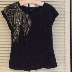 Black crape blouse with studs  by Guess xs